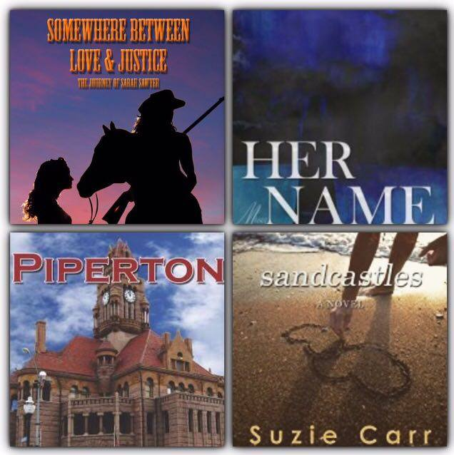 """Somewhere Between Love & Justice: The Journey of Sarah Sawyer"" by S.W. Andersen - ""Her Name"" by Alicia Joseph - ""Piperton"" by Carrie Carr - ""Sandcastles"" by Suzie Carr."