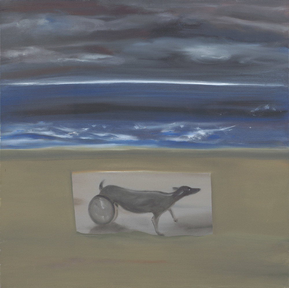 "Dog on Beach     30""x30"""