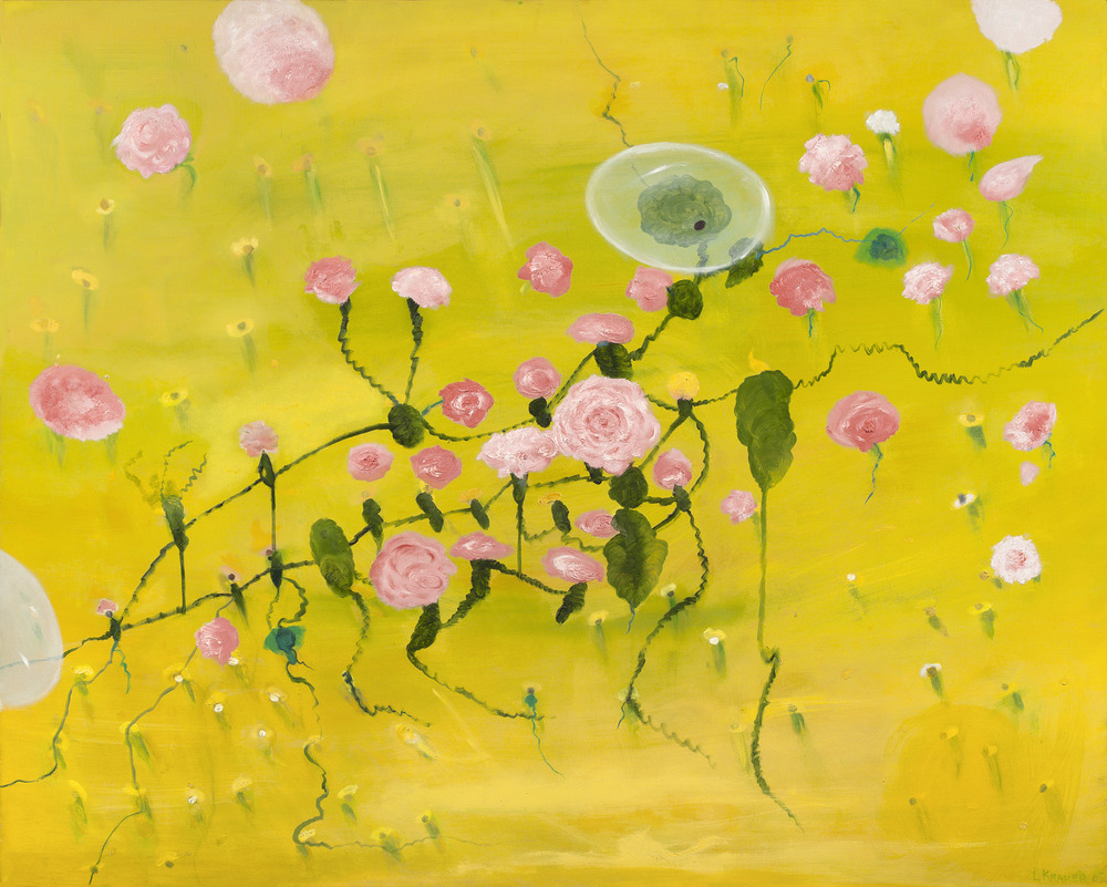 "Flowers With Bubble  48""x60"""