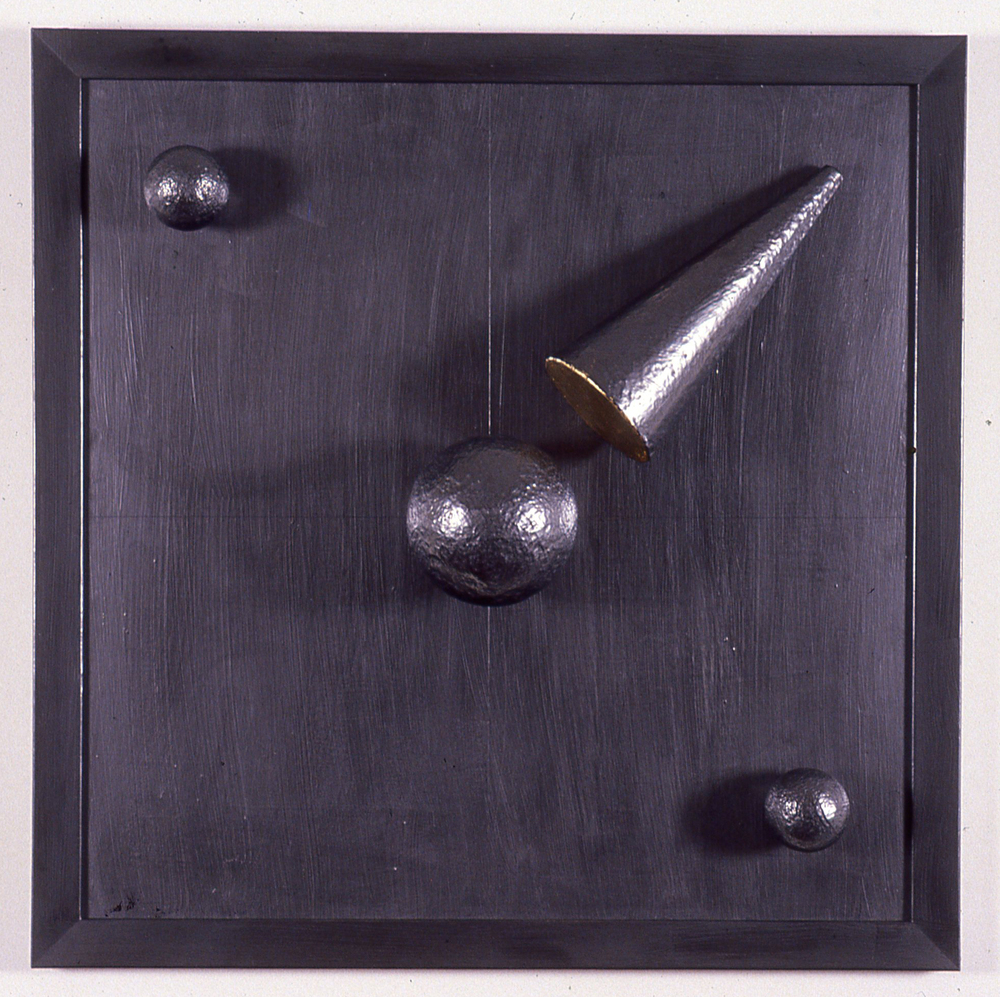 "Three Balls and Cone  36""x36""x 3"" graphite on wood"
