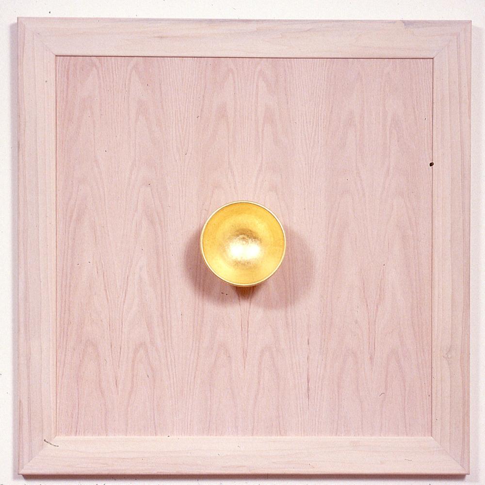 """Marilyn  23K gold leaf on ceramic on wood 36""""x36""""x6"""""""
