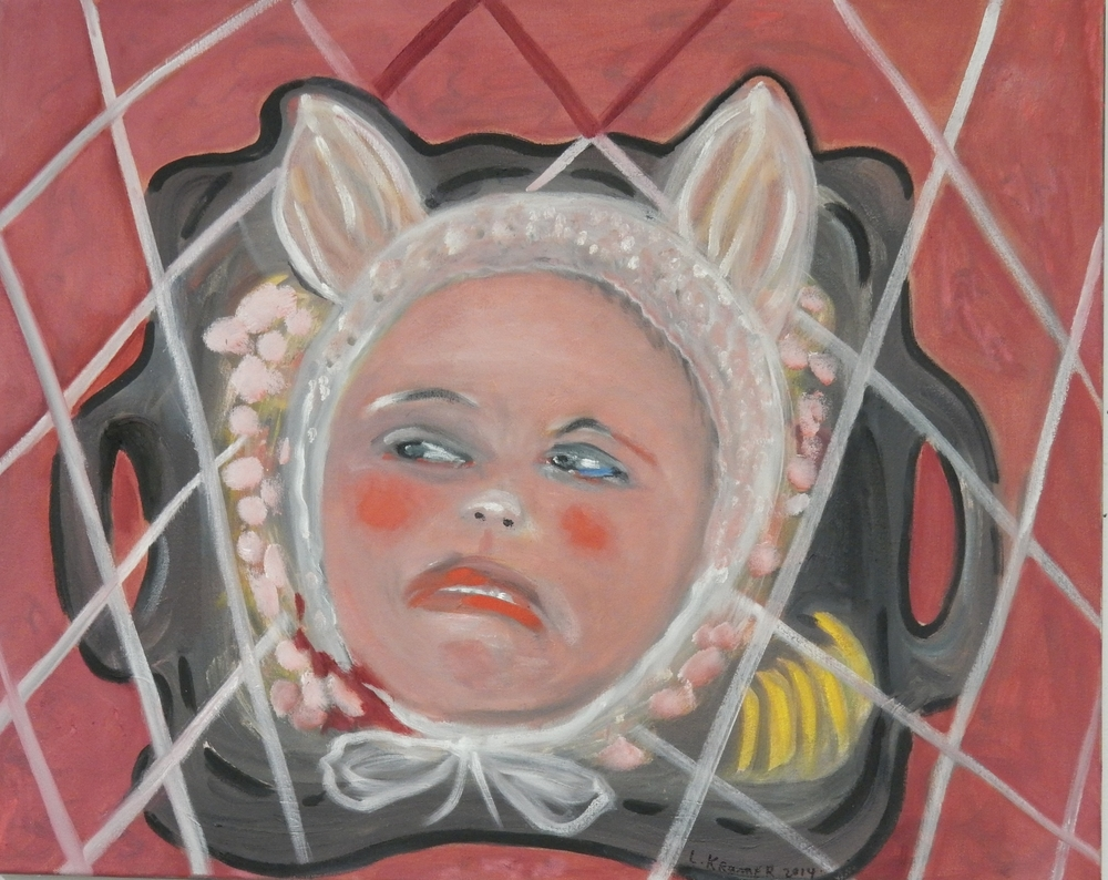 "Child's Head on Platter 20""x20"" oil on canvas"