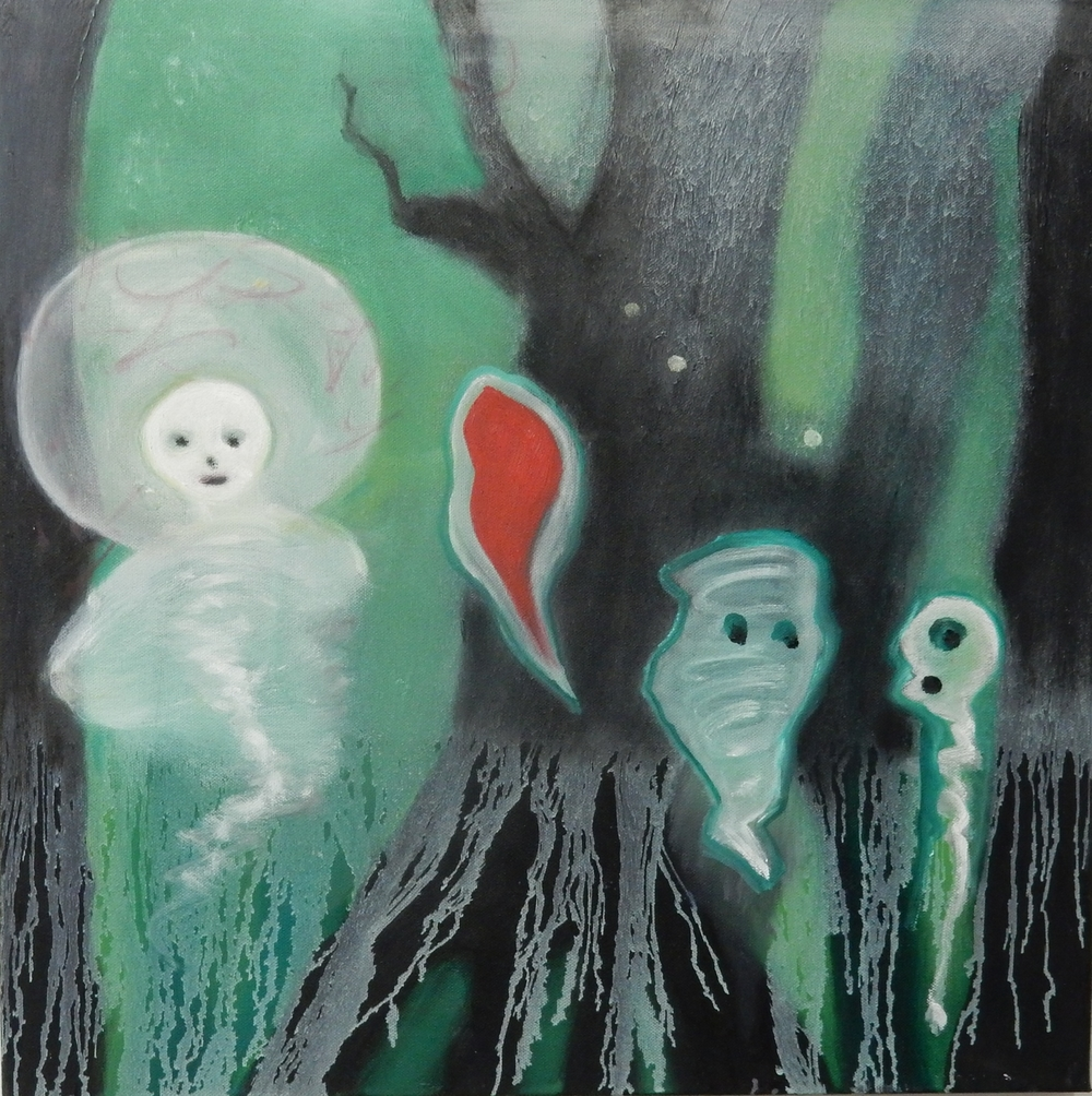 "Four Ghosts  20""x 20"""