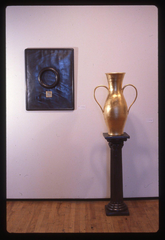 "Object of Worship    ceramic/23k gold leaf, pot 26"" base 36"""