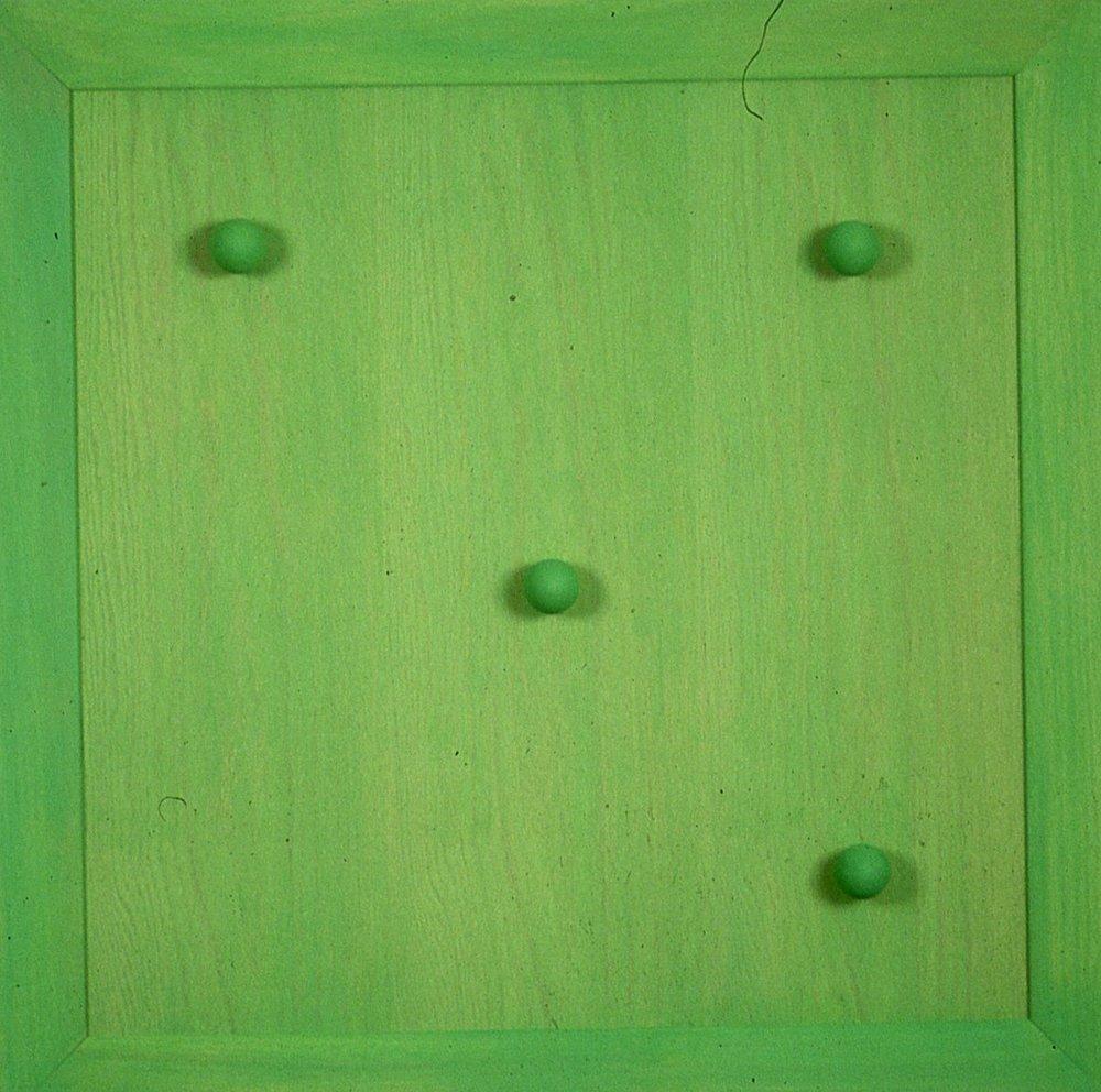 "Green, on wood 36""x36""x 2"""