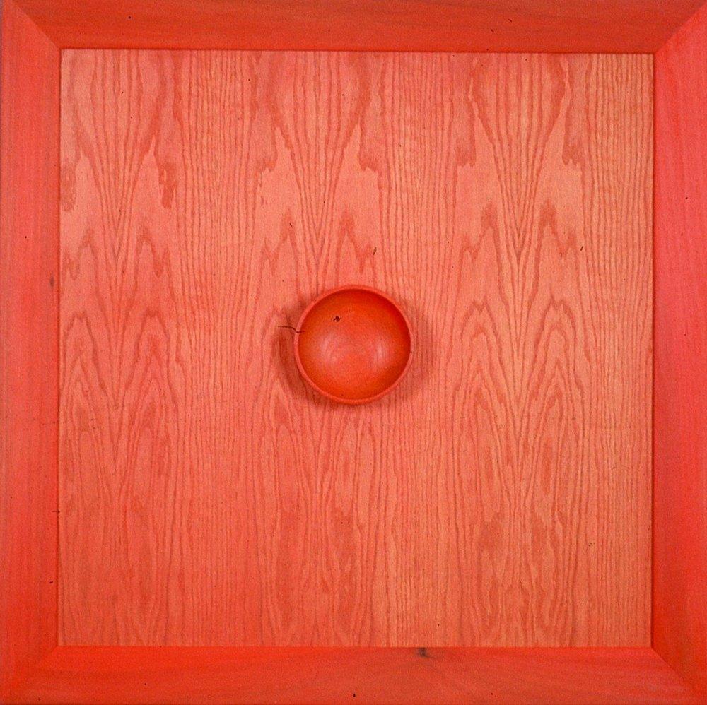 "Red 36"" X 36"" acrylic on wood"
