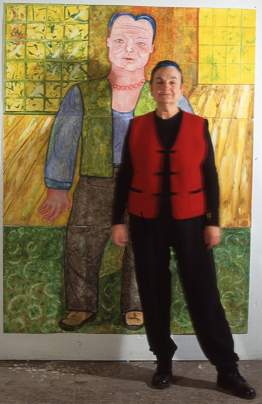 "Me in front of self portrait  60""x 90"""
