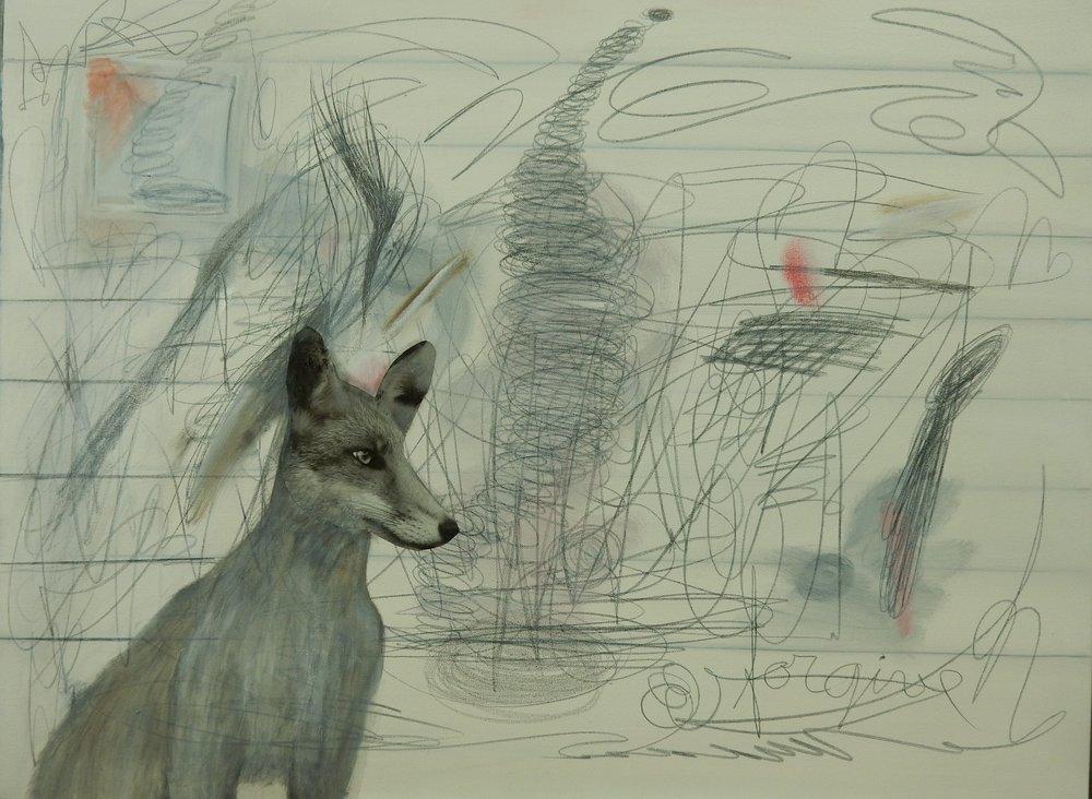 "Dog 30"" x 40"" 2016  oil/graphite/collage on canvas"