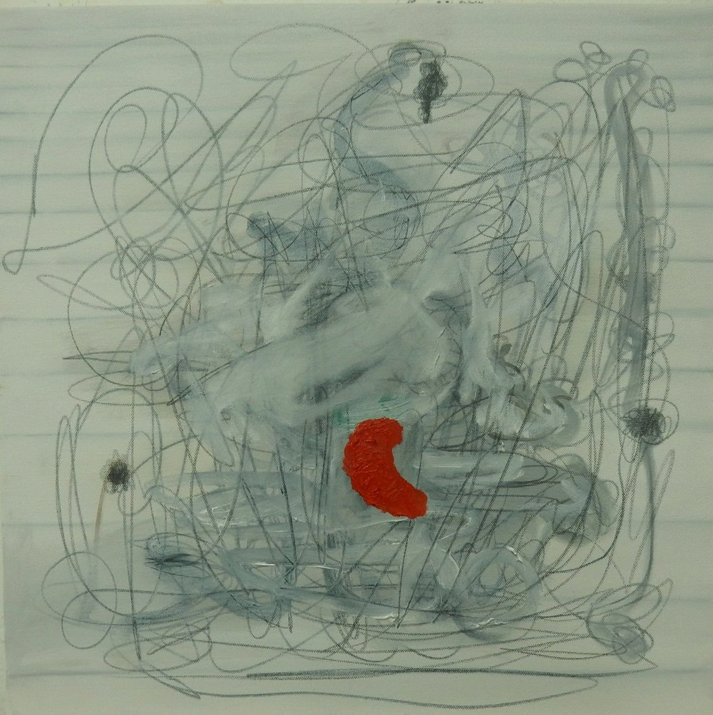 """Red  20""""X20 """"oil/graphite on  canvas"""