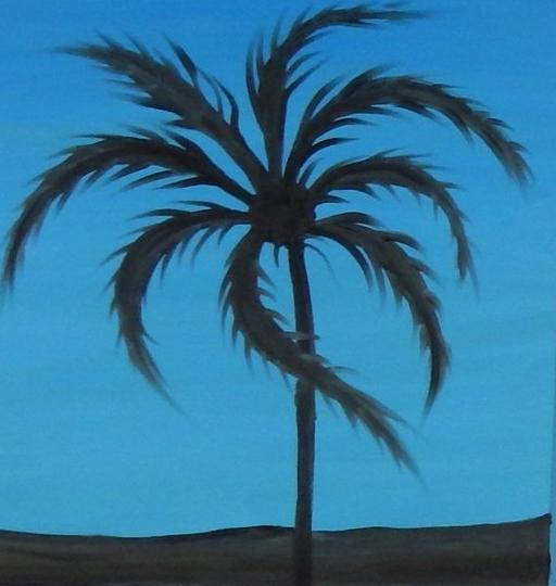"Blue Palm 20""x20"""