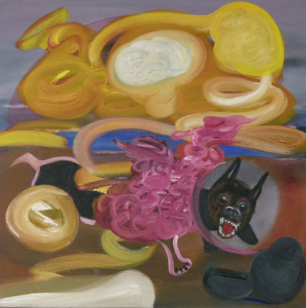 """Dog With Pink  30"""" x30"""""""