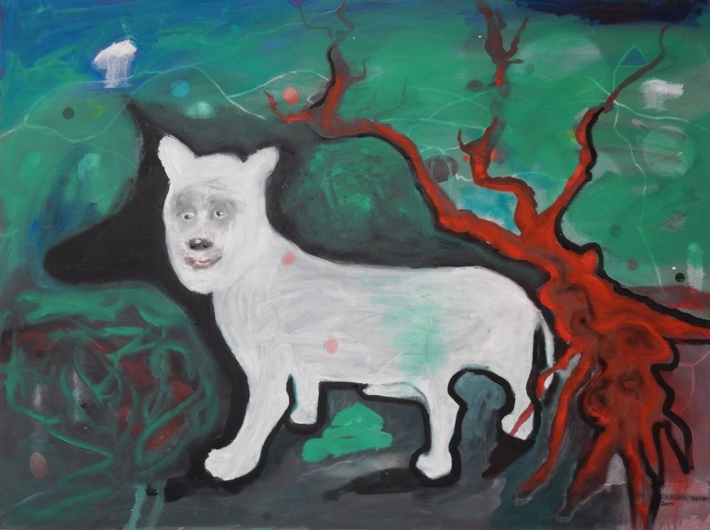 "White Dog 30""x40"" oil on canvas  2013-17"