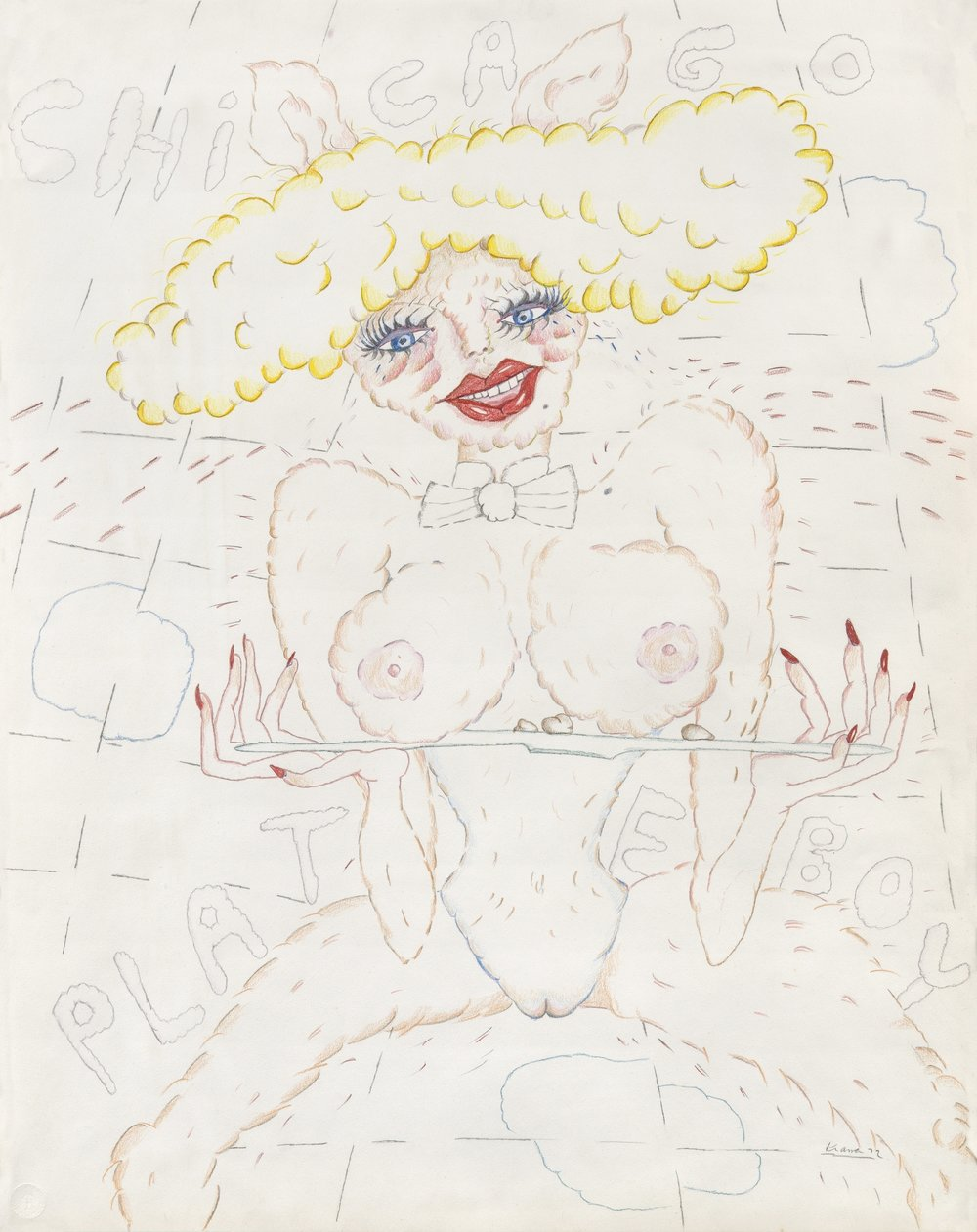 "Plate Boy Bunny Young 29""x23""  colored pencil on paper 1972"