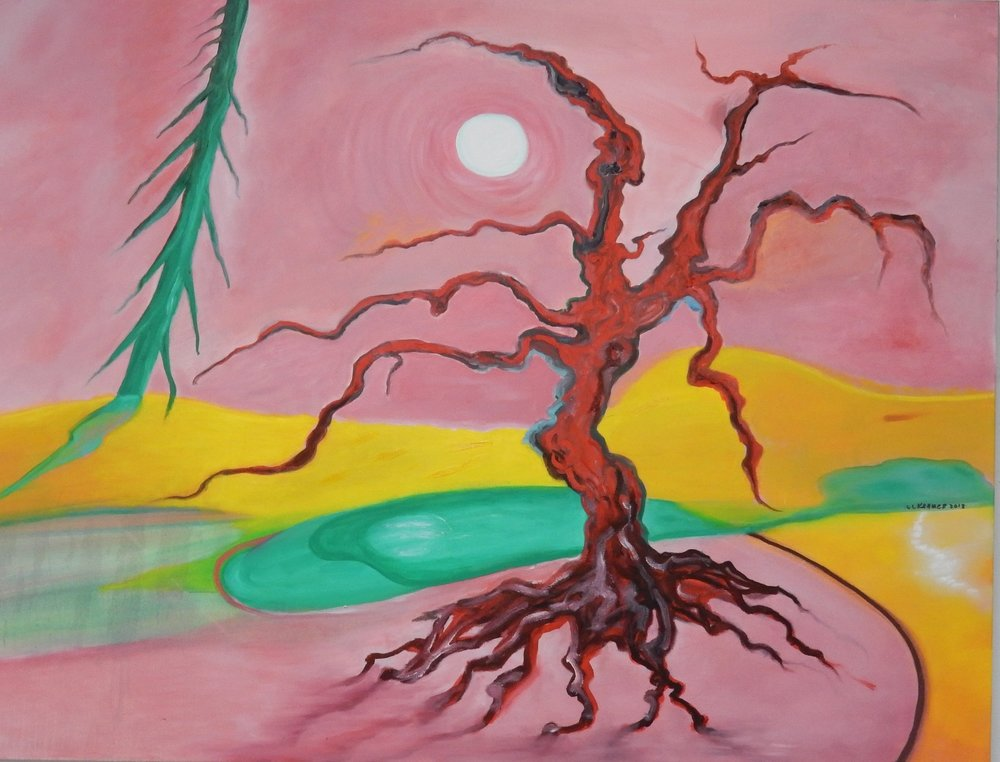 """Red Tree  oil on canvas 36""""x46"""""""