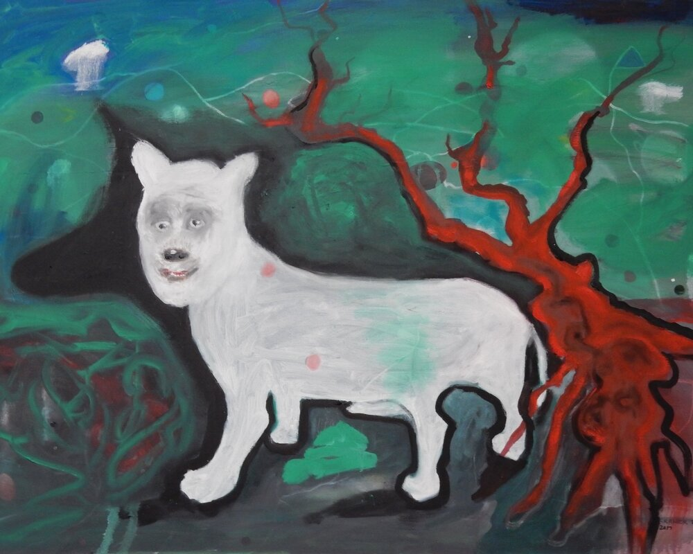 """Dog with red tree  30""""x40""""  oil on canvas  2017"""