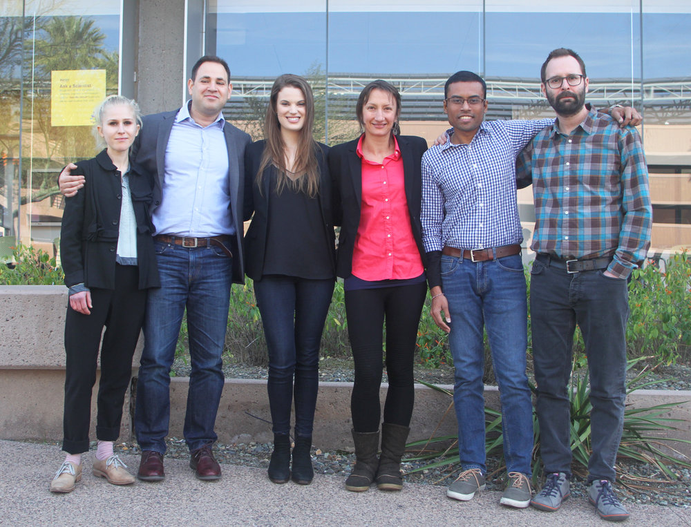 BDC visits the Biodesign Institute at Arizona State University. Pictured left to right: Ali Schachtschneider, Dan Grushkin, Alison Irvine, Stacey Kuznetsov (ASU), Piyum Fernando, and artist David Bowen.