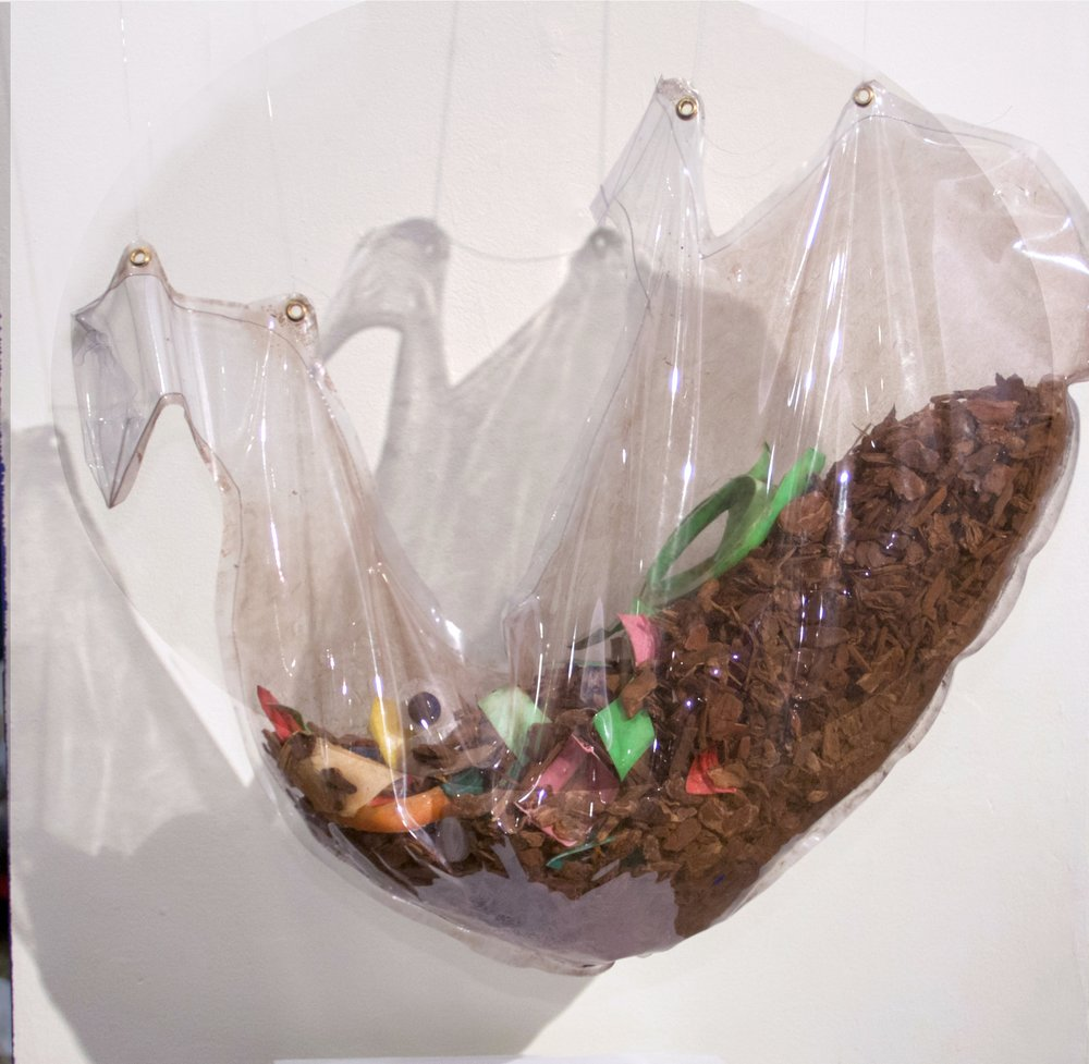 Materials: Sculptural stomach that degrades plastic by virtue of living fungi, 2018