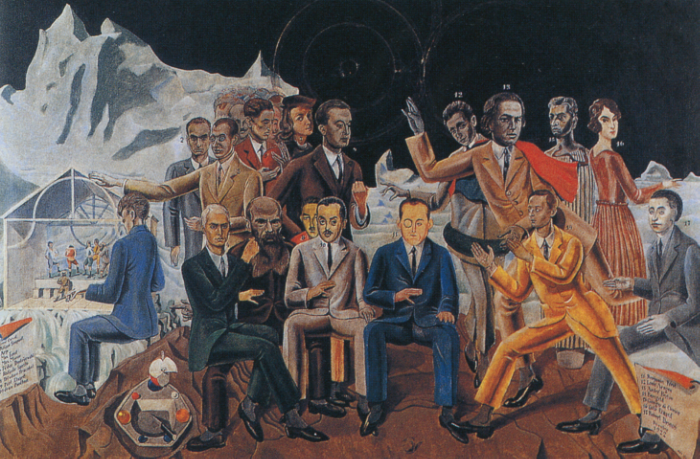 A group portrait of surrealists and their heroes.