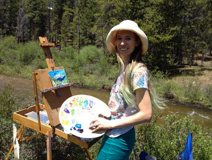 Here I am painting at Halfmoon Creek near Leadville!