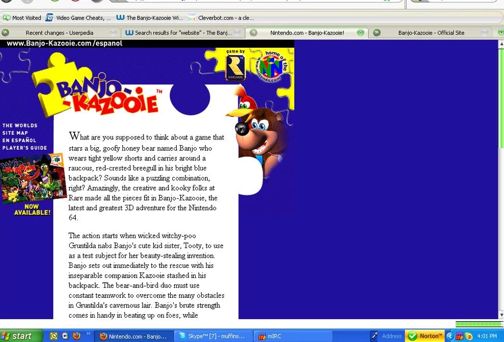 Image credit to:http://banjokazooie.wikia.com/wiki/Banjo-Kazooie_Official_Websites?file=BanjoKazooiecom1998.PNG#www.banjo-kazooie.com