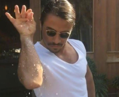 Add accented paper like gold leaf, origami paper, or iridescent paper as the last step, just like Salt Bae shows us
