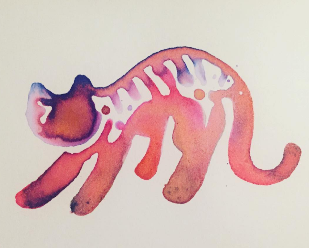 Stretching Cat Ink Art - by Becky Jewell.png