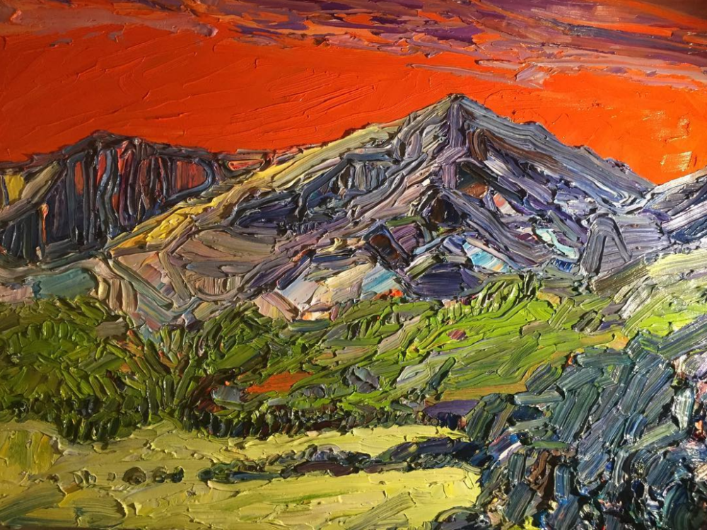 This larger painting of Mount Elbert measured around 20 x 30 inches