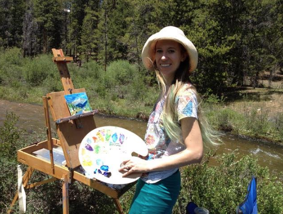 Here I am painting outdoors, happy as a clam, no projector