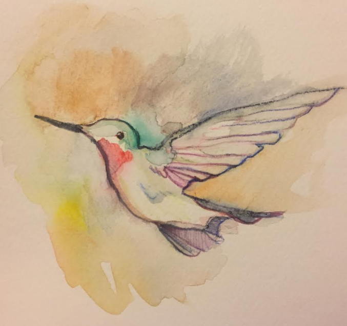Hummingbird  Watercolor on paper  2018   Sold