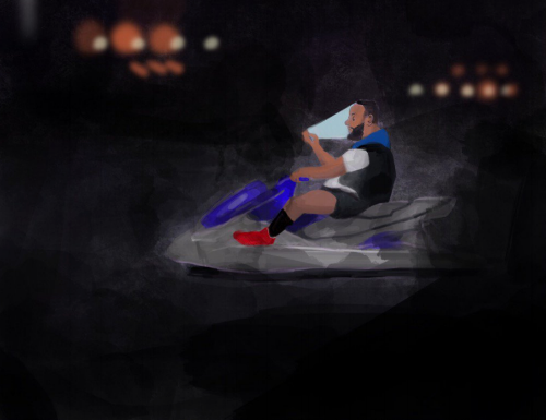 Art I made in 2015 of DJ Khaled Jetskiing at night