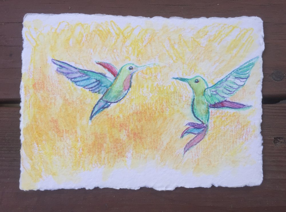 A couple happy hummingbirds