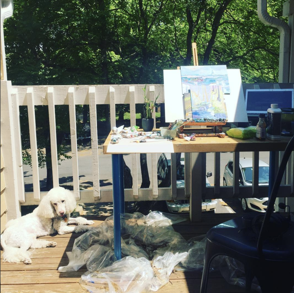Outdoor Studio oil painting becky jewell poodle.png