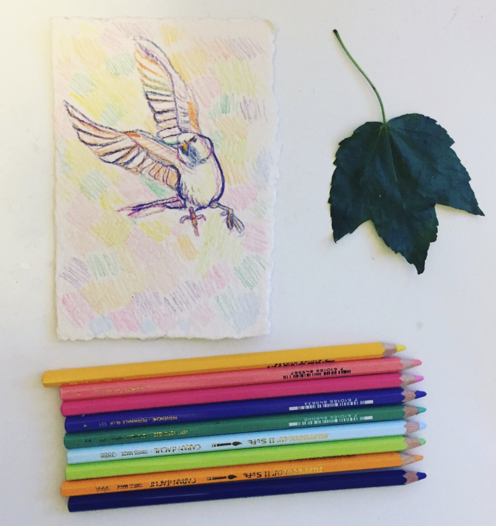 becky jewell watercolor finch caran d ache supracolor pencils leaf.png