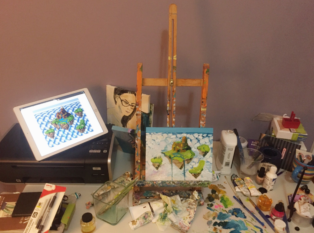 Kingdom of Zeal Chrono Trigger Floating Island Painting Becky Jewell.png