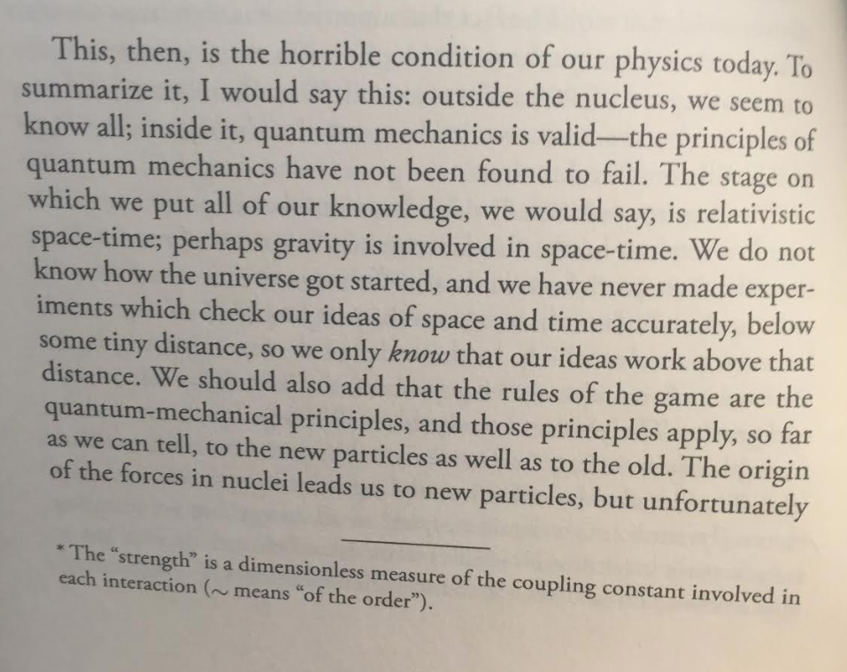 The horrible condition of physics today for Feynman. We barely know what we don't know, and we don't know how far we have to go.
