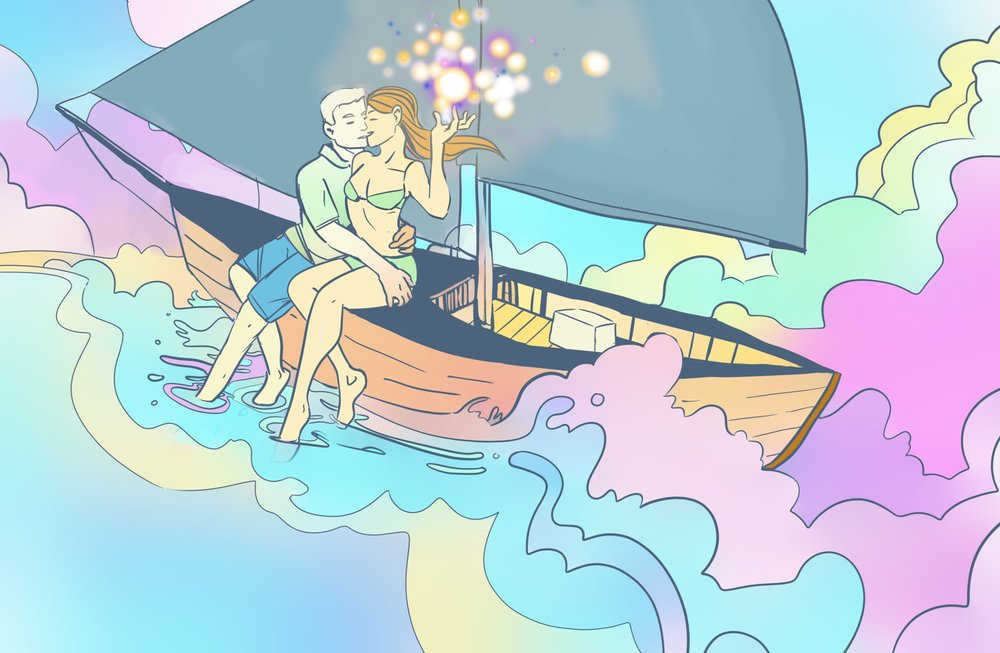 None of this makes any sense! Relax and give no fucks and draw some dreamy sailboat art, kid
