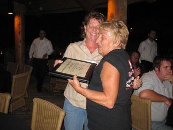 Linda receiving her award