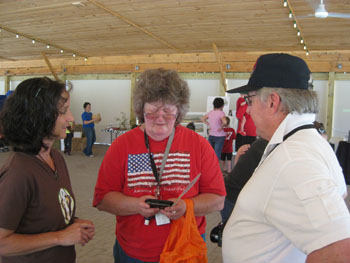Director April speaking with some visitors.