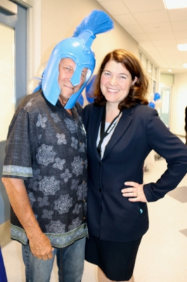 Bud Coale of the Bonsall Chamber of Commerce Executive Committee is happy to play Legionnaire for a photo op with Bonsall High School principal Lee Fleming.  The event was the October Sundowner held at Bonsall High School on Oct. 13; over 50 local community members attended. Larissa Scors Anderson photos