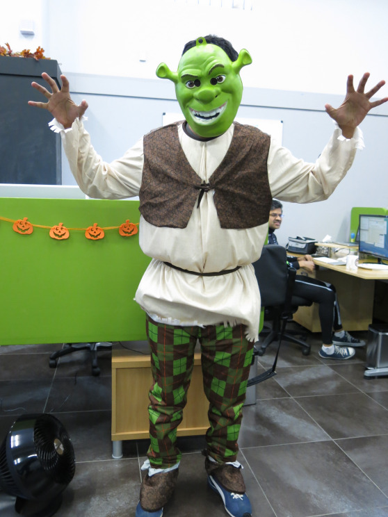 Tarun, your sneakers blend in so well, we almost don't recognize you as Shrek. Right, Donkey?
