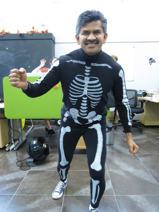 How does Prasad manage to make even an adult skeleton onesie look cool on him?
