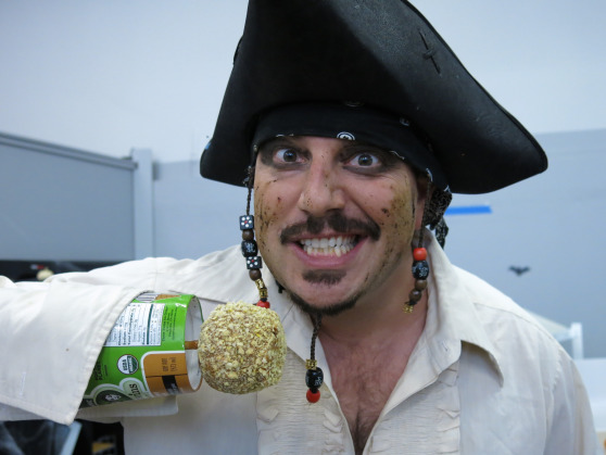 Shiver me timbers! We approve of Neal's candy apple right arm added to his Captain Jack Sparrow look.