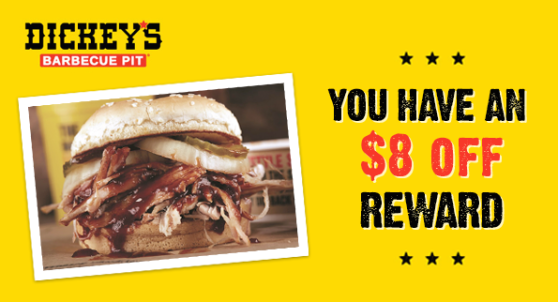 More BBQ means more rewards: What an actual Dickey's offer will look like ready for redemption.