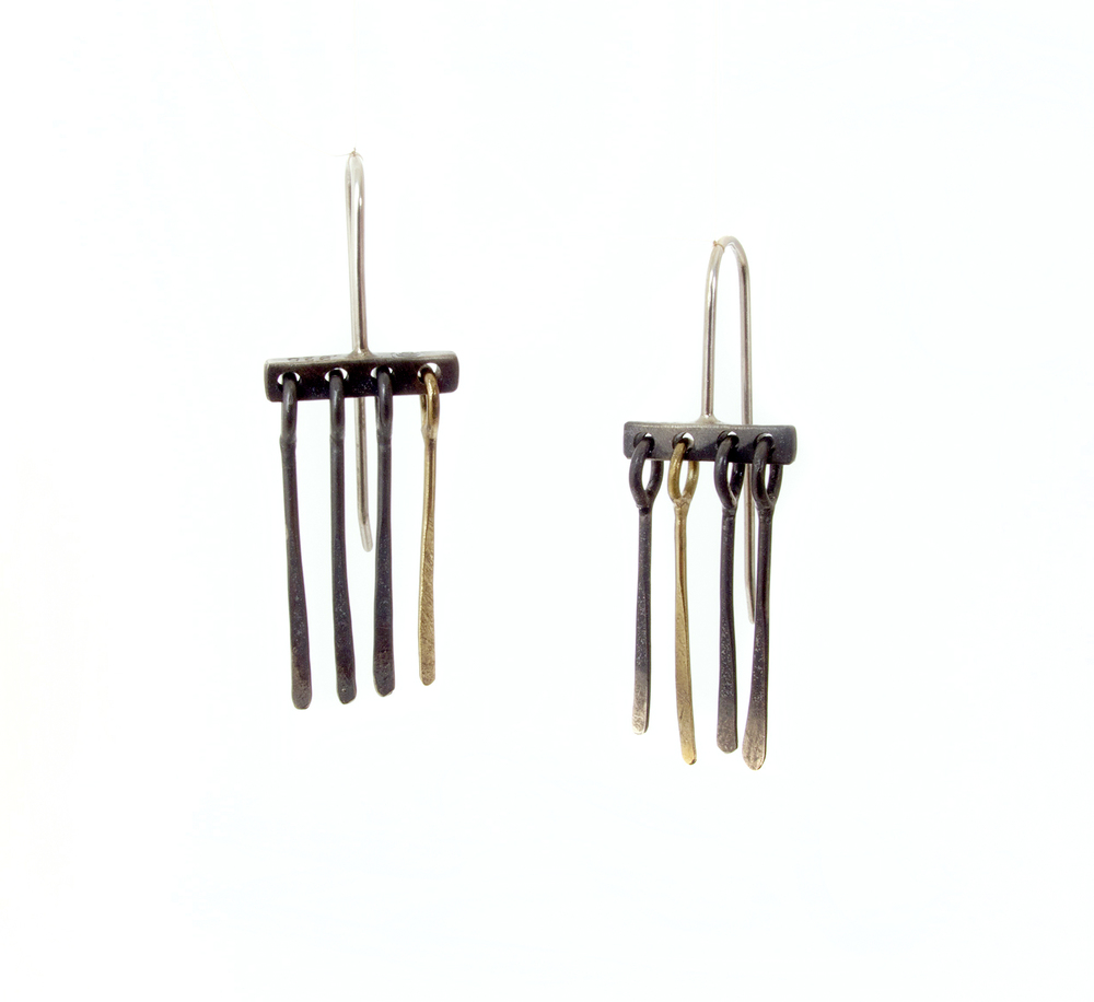 tassel earrings in sterling silver & 18ct yellow gold