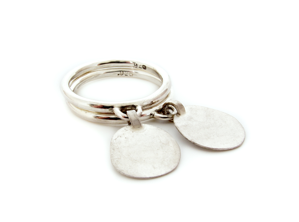 disc charm ring set, sterling silver