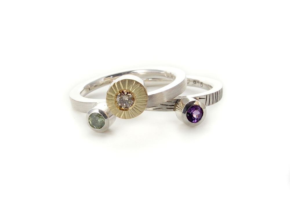 sterling silver & 18ct yellow gold with champagne diamond, demantoid garnet & amethyst
