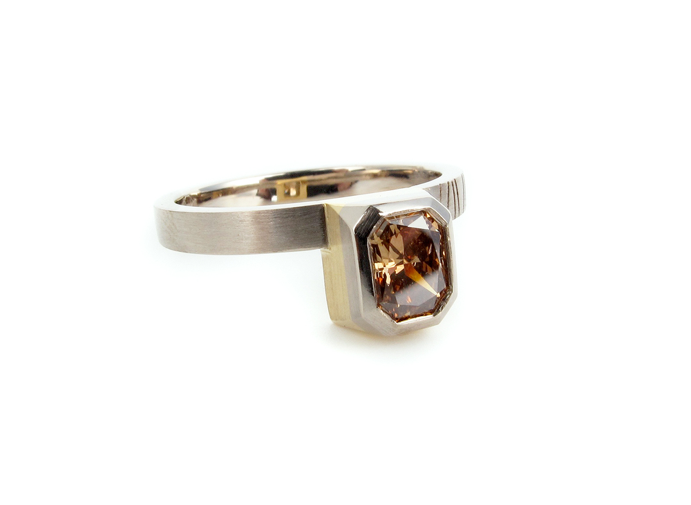 Radiant cut cognac Argyle diamond in 18ct white & yellow gold
