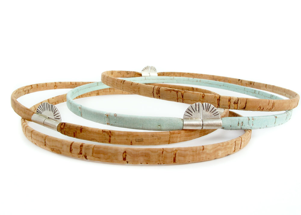 the sunrise choker, made with Portuguese cork & a sterling silver magnetic clasp