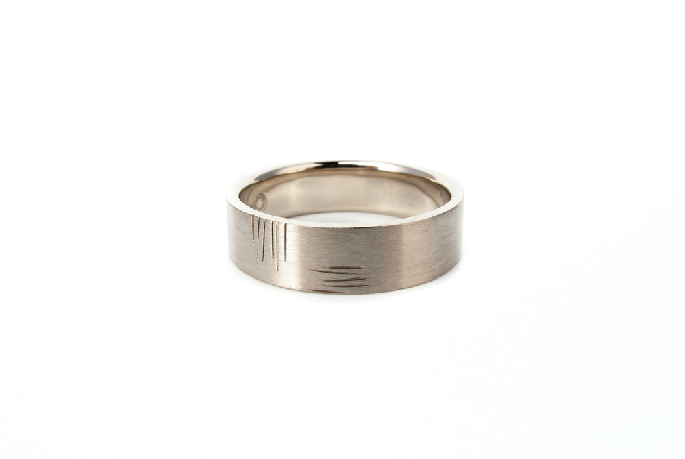 mens wedding band white gold