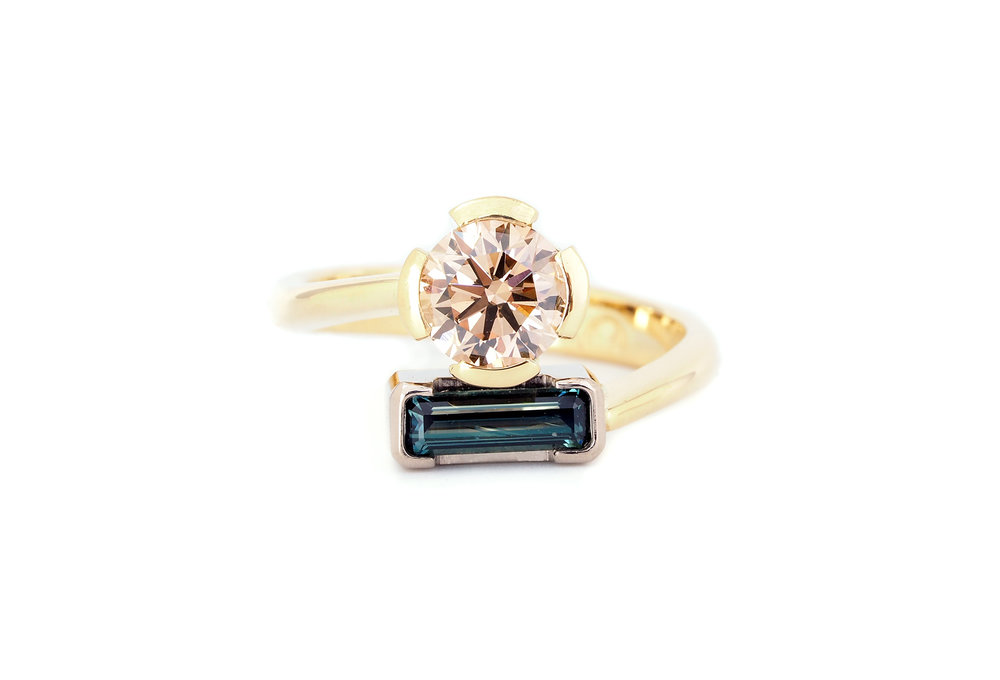 Argyle Champagne diamond and Australian teal sapphire ring
